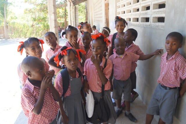 Haitian school students at the school Crossroads sponsors